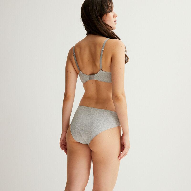 plain cotton cheeky panties - grey;