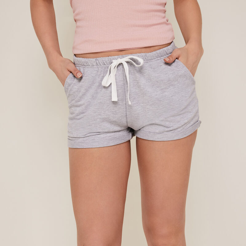 Plain fleece shorts - grey;