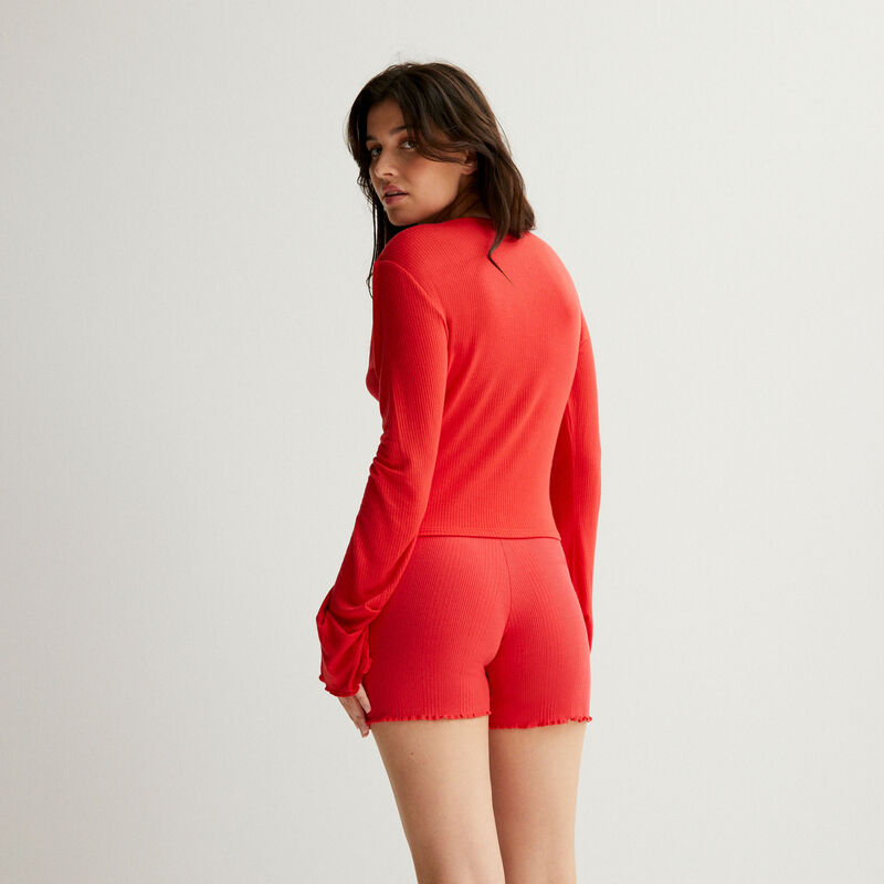 ribbed jersey shorts - red;