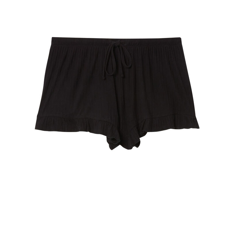 ruffled shorts with low cut bows - black;