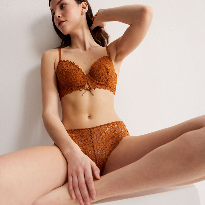 padded floral lace bra with bow detail - brown;