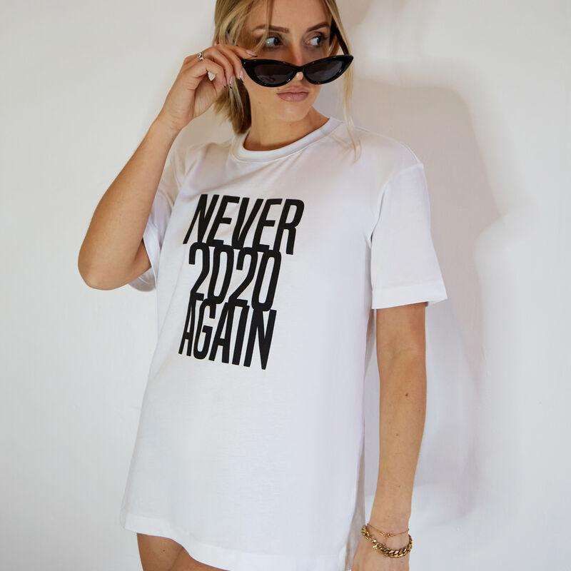 Top à message never 2020 again - blanc;