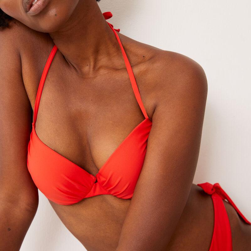 open back push-up bikini top - red;