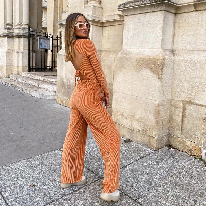 high collar back lacing top - camel;