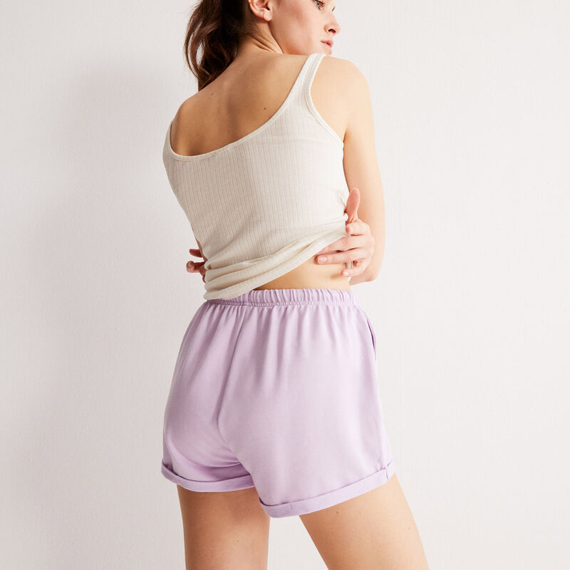 однотонные шорты со шнурком-завязкой - лиловый;
