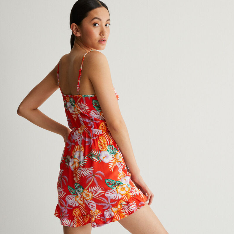 cut-out tropical print playsuit with tie - red;