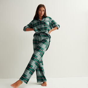 Wide check trousers with pleated waist and ties - fir