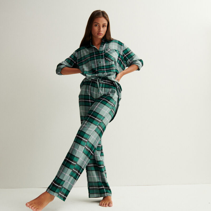 szerokie spodnie w kratę z marszczeniem i wiązaniem w talii — jodłowa zieleń;