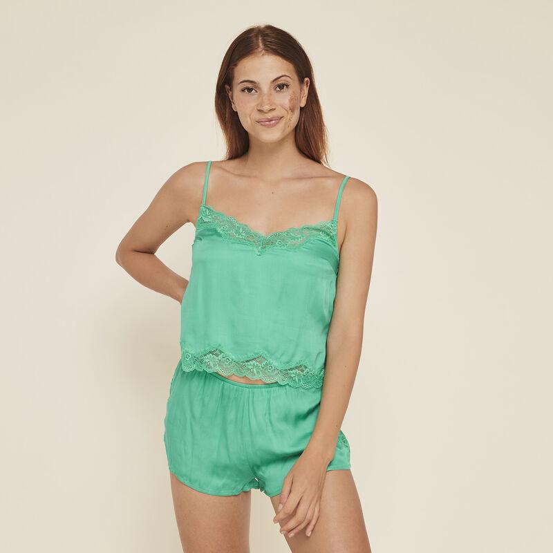 Sexysatiz top with narrow satin straps;
