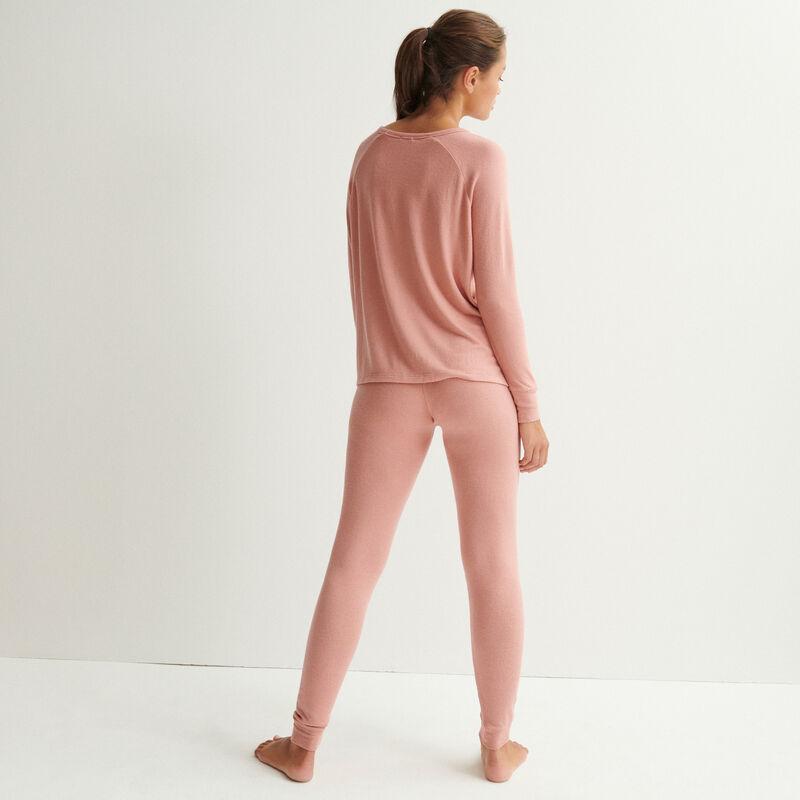 spodnie z dzianiny — cielisty różowy;