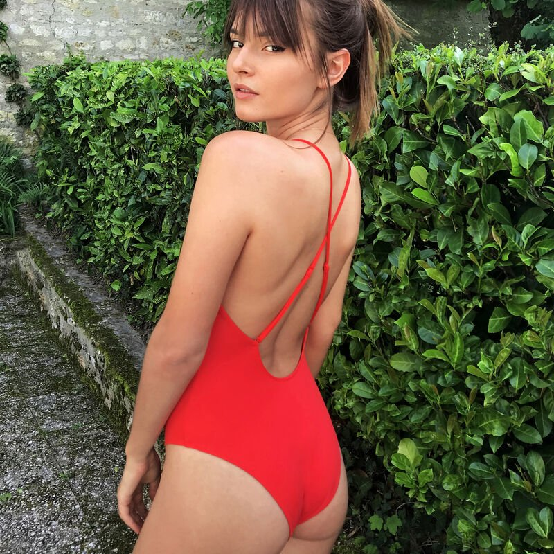 One-piece swimsuit with lacing - red;