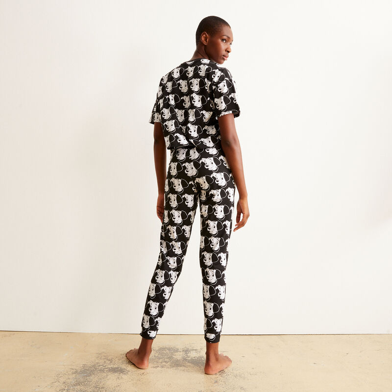 Trousers with 101 Dalmatians pattern - black;