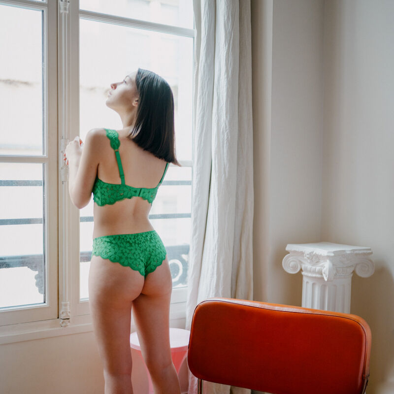 padded bra with lace straps - green;