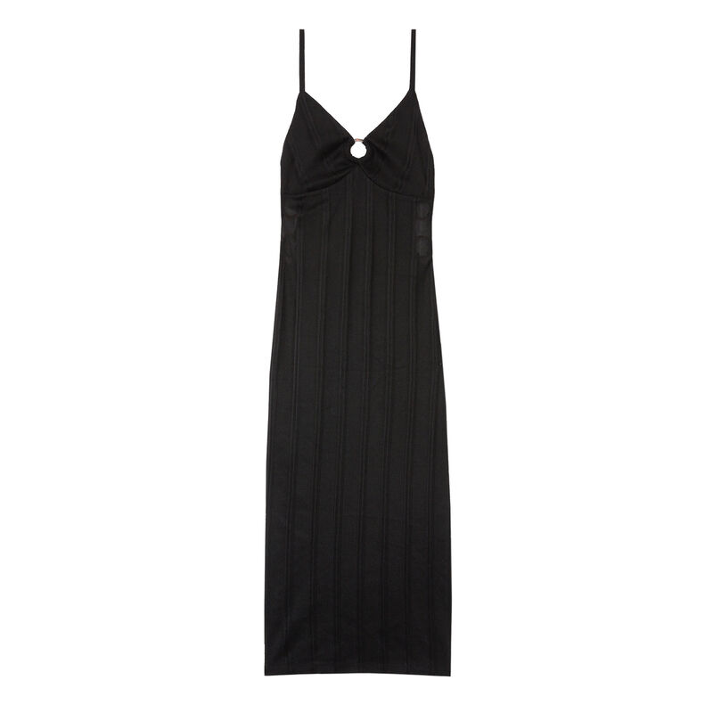 long cut-out bust dress with rings - black;