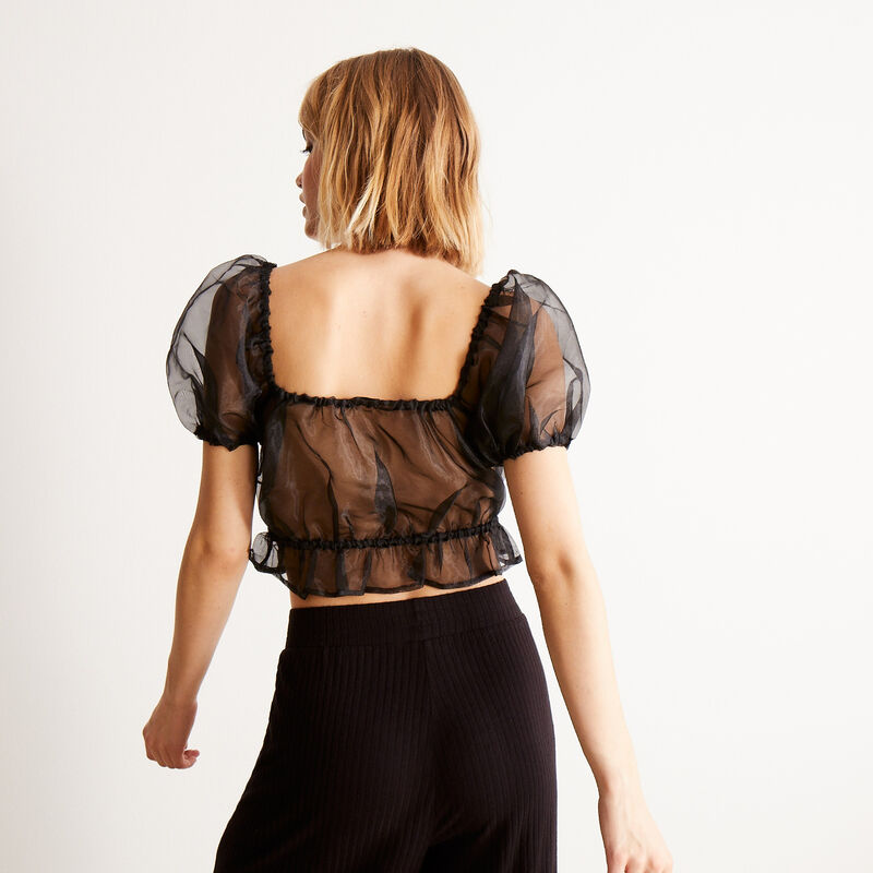 tulle crop top with bouffant sleeves - black;