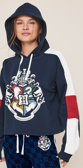 Sweat à capuche print harry potter harrypottiz bleu marine.