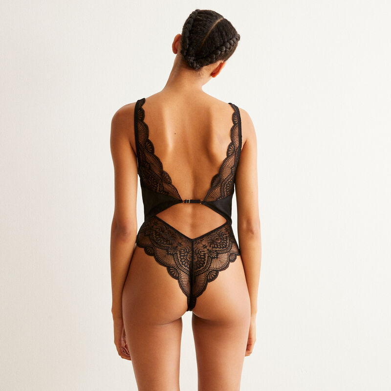 lace body with plunging neckline - noir ;