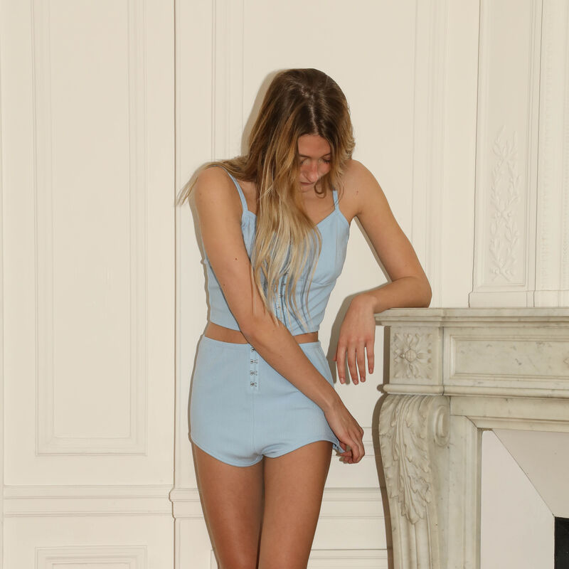 jersey shorts with corset detail - blue;