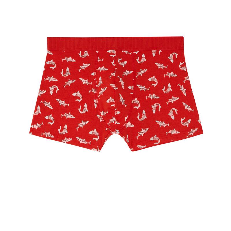 "трусы-боксеры с рисунком ""акулы"" - красный;"