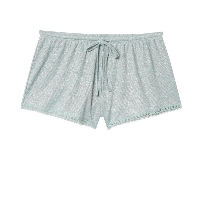 шорты с блестками и кружевной окантовкой - бледно-зеленый;