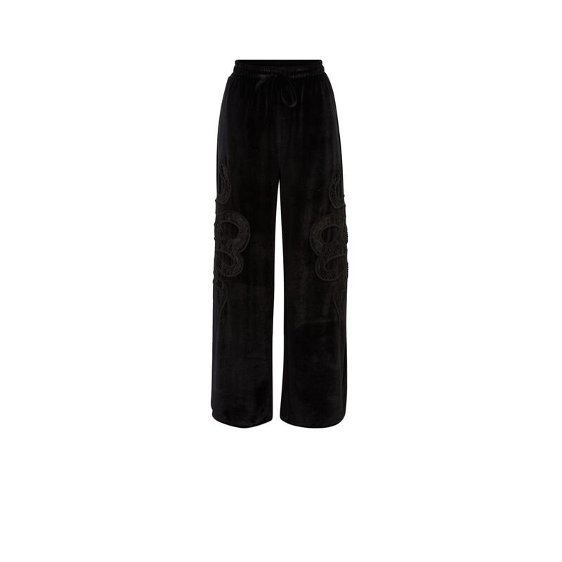 velour trousers with snake pattern - black;