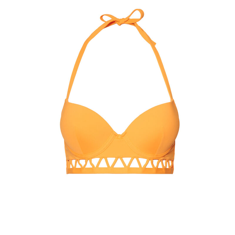 Push-up bikini top with open back and Aztec details - orange;