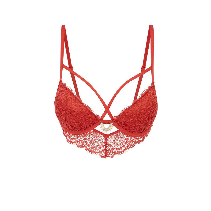 Precieusiz brick red push-up bustier bra;