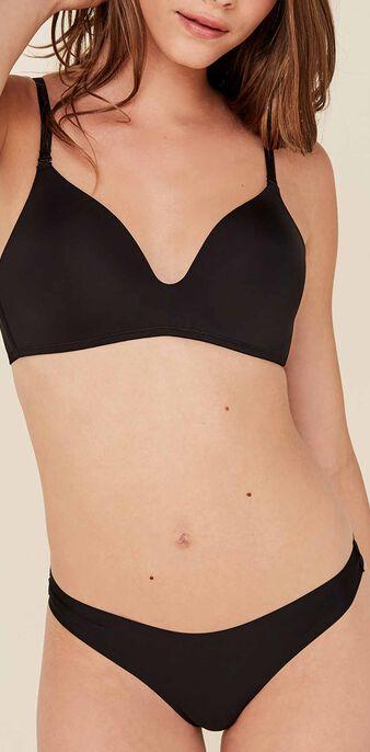 Black microfibre padded bra black.