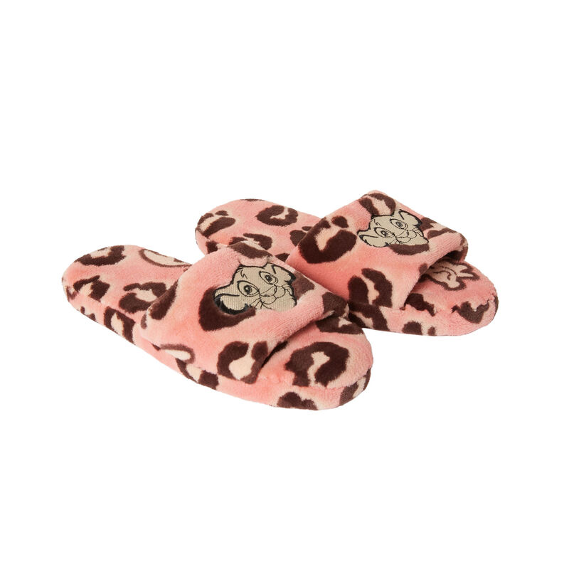 lion king print slippers - pink;