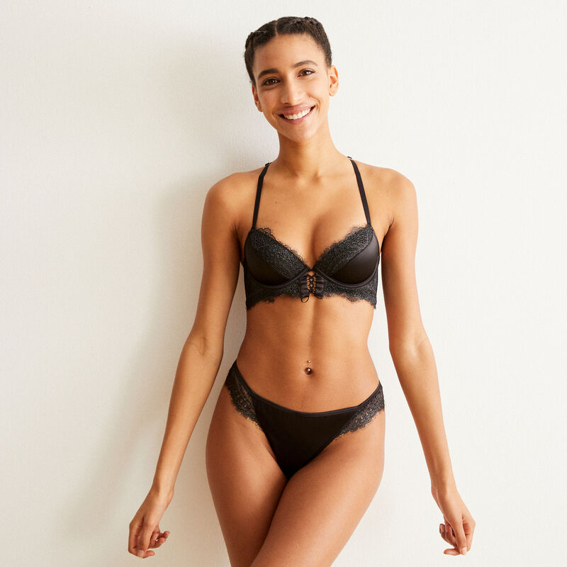 bustier push-up bra with lace - black;