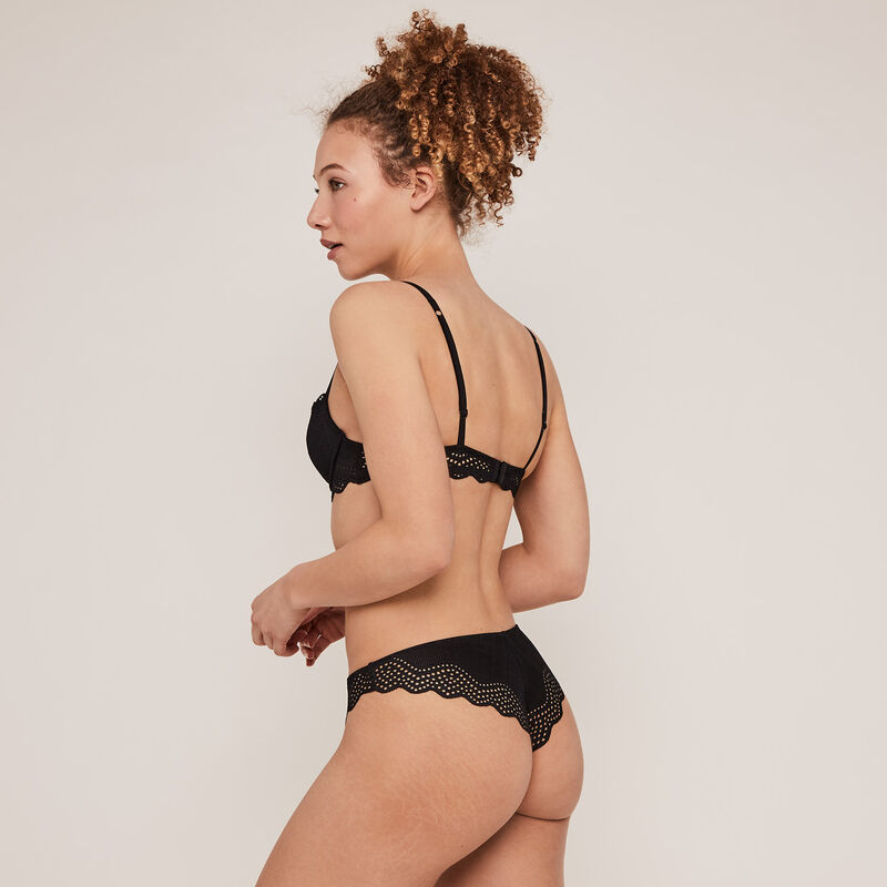 Lace tanga briefs with jewellery detail - black;
