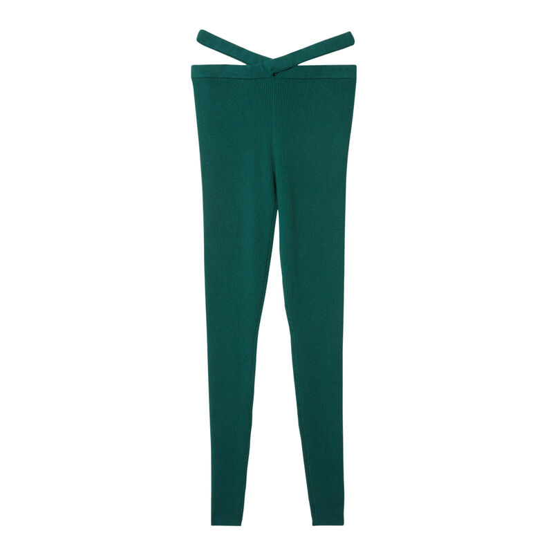 knitted leggings with tie detail - fir green;