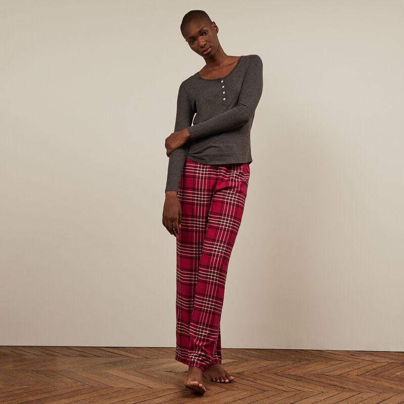 Long-sleeved plain top - grey;