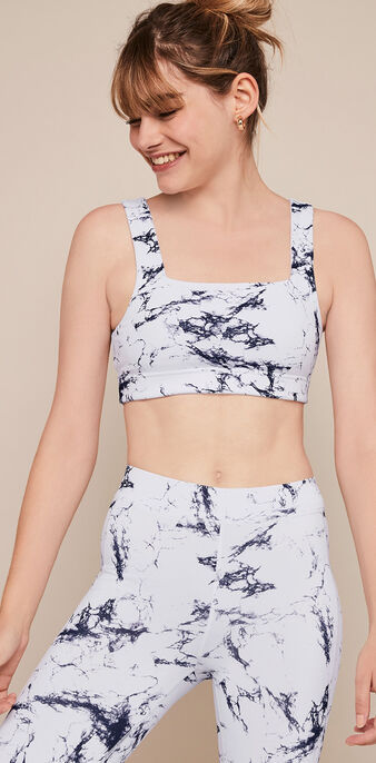 Yogamarbliz marble print sports bra white.
