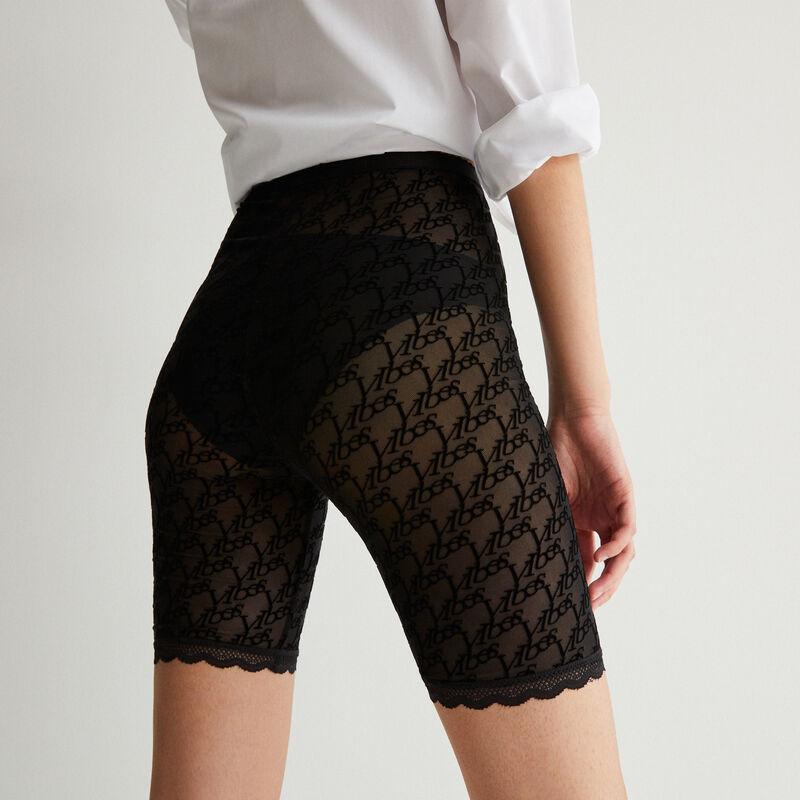 monogrammed mesh cycling shorts - black;