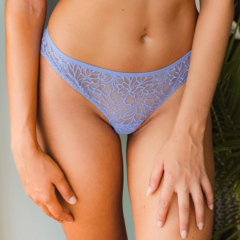 Lace tanga briefs - sky blue ;