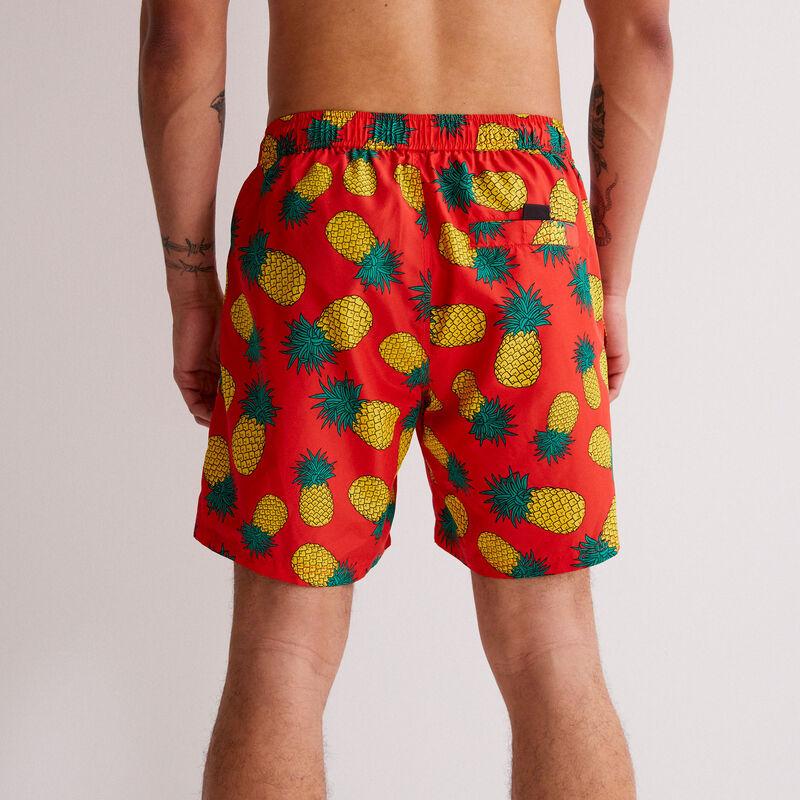 pineapple print swim shorts - red;