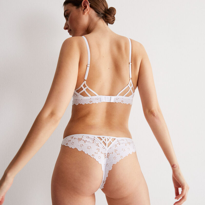 100% lace openwork thong - white;