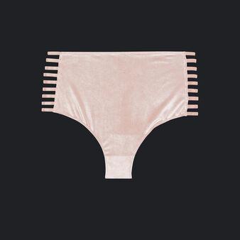 Culotte haute rose pâle velouriz pink.