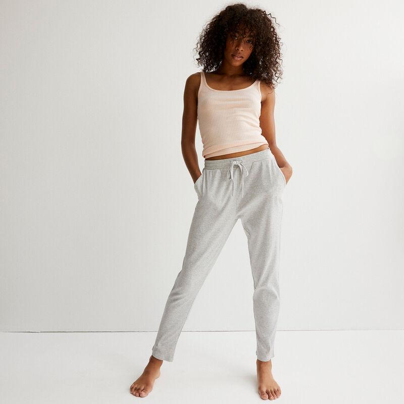 Jersey trousers - light grey ;