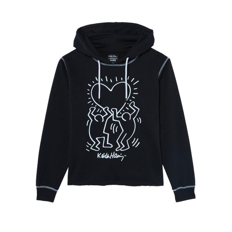 Keith Haring heart pattern sweatshirt - black;