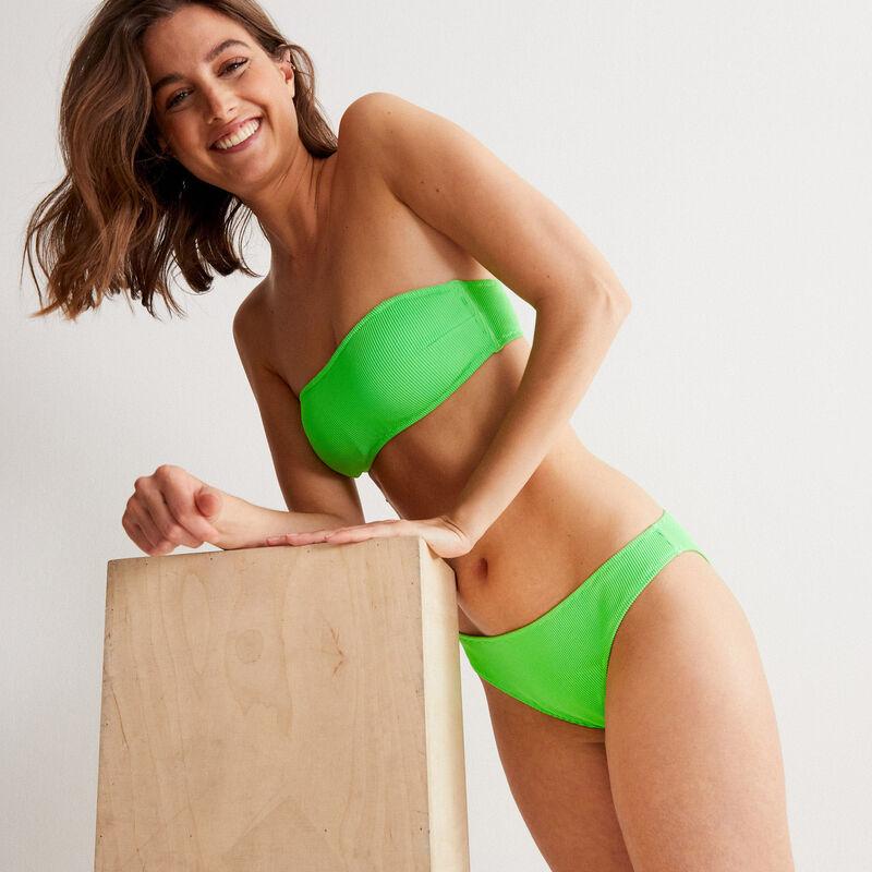 гофрированный купальный бюстгальтер фасона бандо - зеленый;