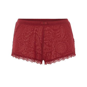 Lascaliz burgundy shorts red.