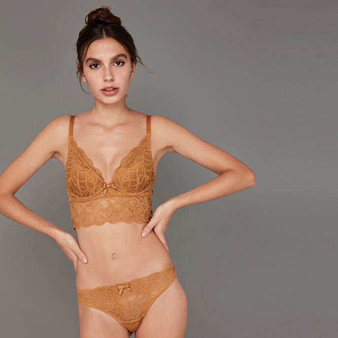 Exotiz mustard push-up bra golden brown.