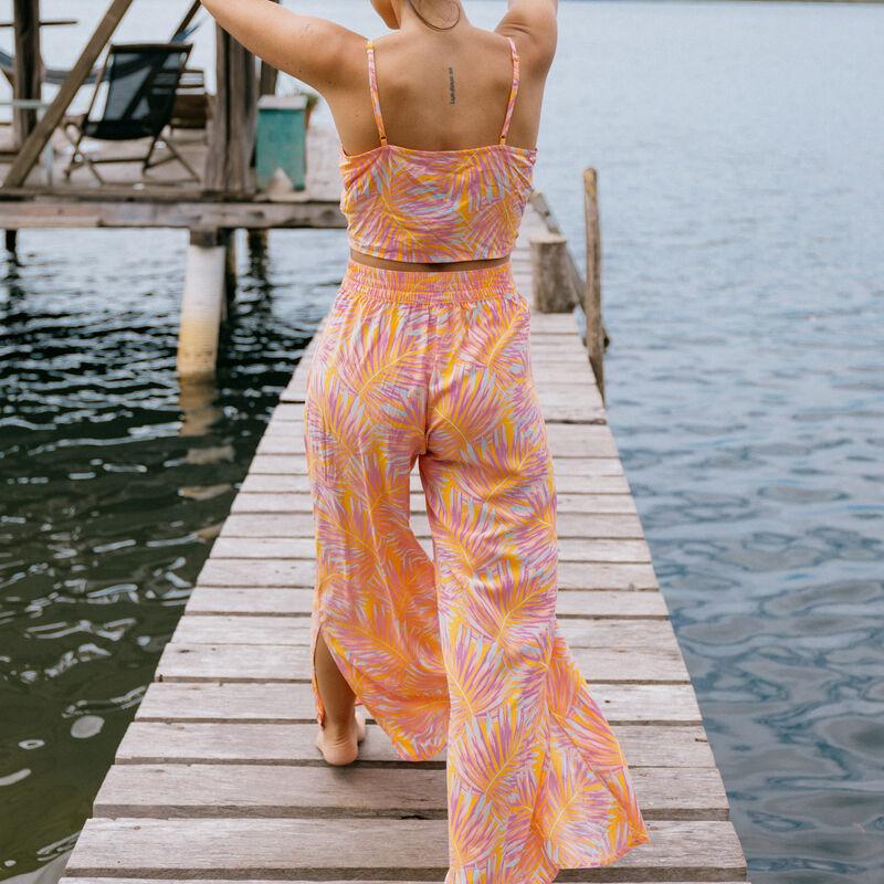 Tied crop top featuring palm motifs - orange;