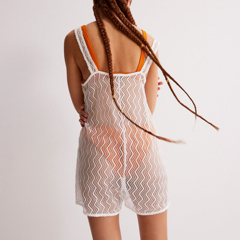 perforated lace playsuit - off-white;