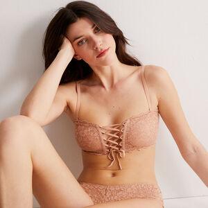 non-wired corset-effect bandeau bra - beige