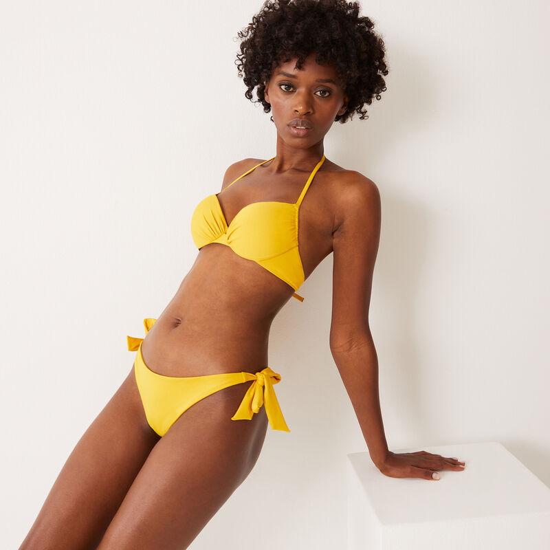 купальные трусики-танга с завязками - желтый;