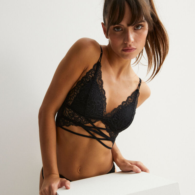 lace triangle push-up bra with tie - black;
