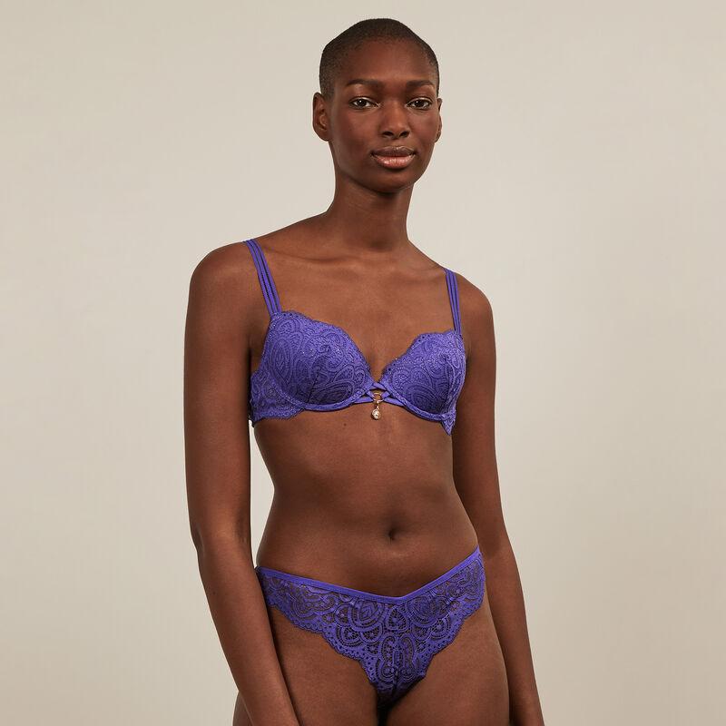 modelujący biustonosz z błyszczącej koronki - fioletowy ;